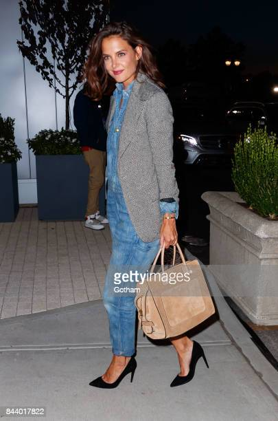 Katie Holmes arrives at Arthur Ashe Stadium on September 7 2017 in New York City