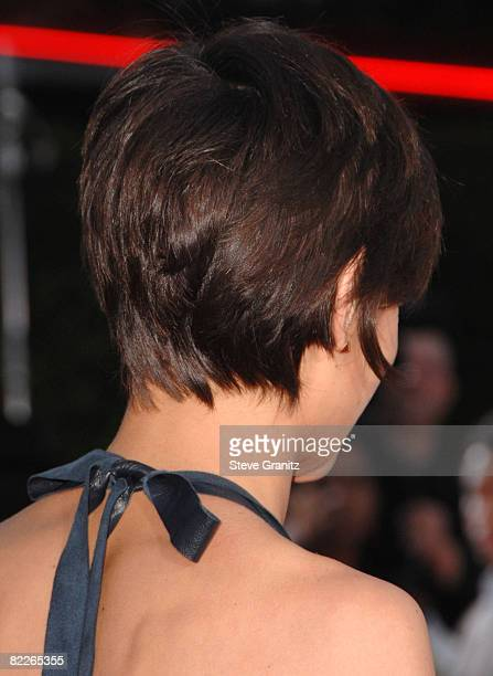 Katie Holmes arrives at the Los Angeles Premiere Of 'Tropic Thunder' at the Mann's Village Theater on August 11 2008 in Los Angeles California
