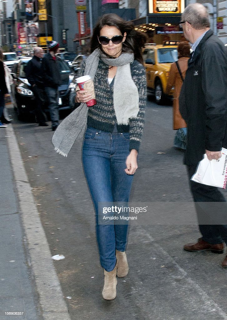 Katie Holmes arriving at her broadway play Dead Accounts on November 24, 2012 in New York City.