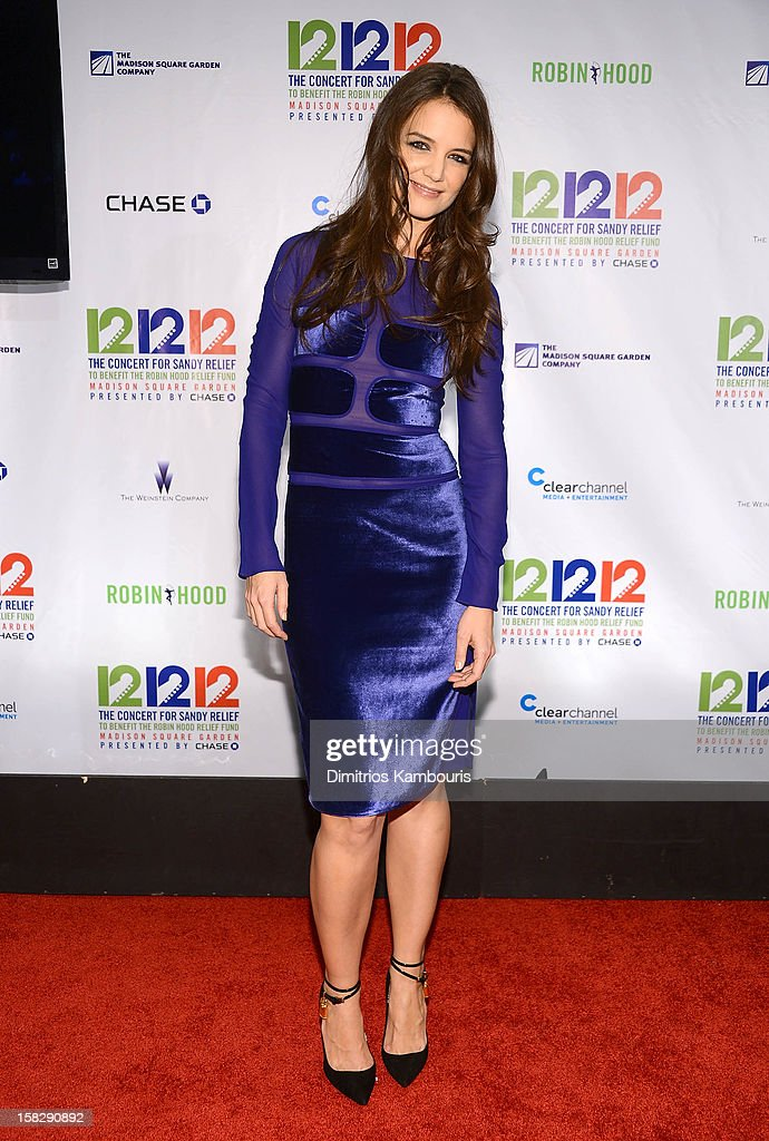 Katie Holmes attends '12-12-12' a concert benefiting The Robin Hood Relief Fund to aid the victims of Hurricane Sandy presented by Clear Channel Media & Entertainment, The Madison Square Garden Company and The Weinstein Company at Madison Square Garden on December 12, 2012 in New York City.