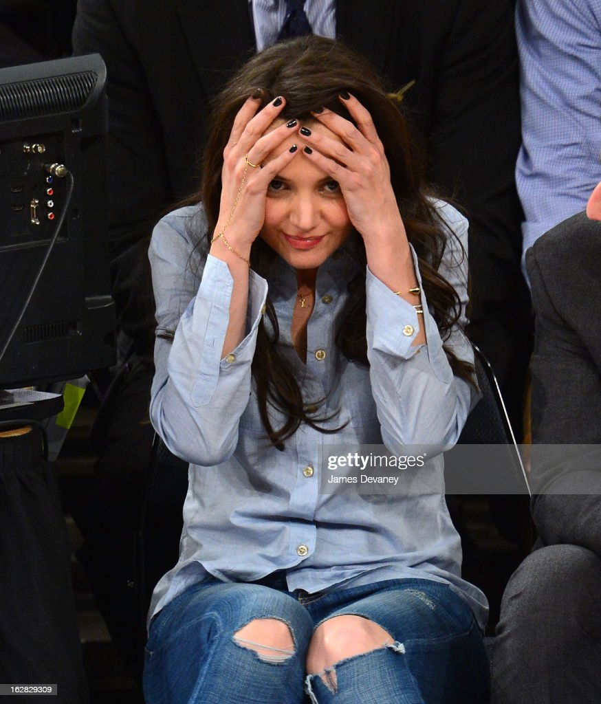 Katie Holmes attends the Golden State Warriors vs New York Knicks game at Madison Square Garden on February 27, 2013 in New York City.