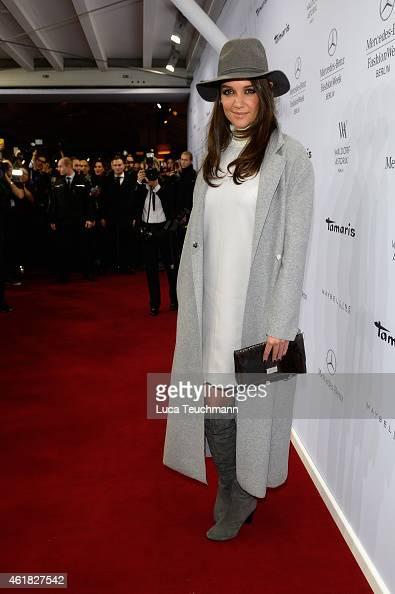Katie Holmes attends the Marc Cain show during the MercedesBenz Fashion Week Berlin Autumn/Winter 2015/16 at Brandenburg Gate on January 20 2015 in...