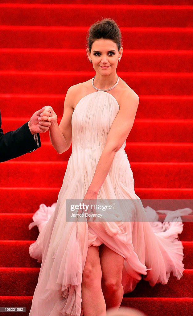 Katie Holmes departs the Costume Institute Gala for the 'PUNK: Chaos to Couture' exhibition at the Metropolitan Museum of Art on May 6, 2013 in New York City.