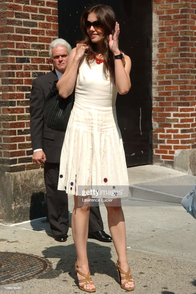Katie Holmes during Katie Holmes Visits The Late Show with David Letterman June 9 2005 at Ed Sullivan Theater in New York City New York United States