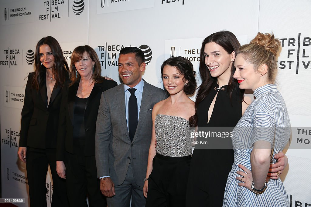 Katie Holmes Jane Rosenthal Mark Consuelos Stefania Owen Eve Lindley and Judy Greer attend the premiere of 'All We Had' during the 2016 Tribeca Film...
