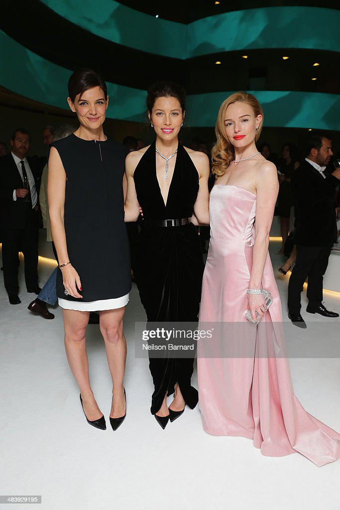 Katie Holmes, Jessica Biel and Kate Bosworth attend the Tiffany Debut of the 2014 Blue Book on April 10, 2014 at the Guggenheim Museum in New York, United States.