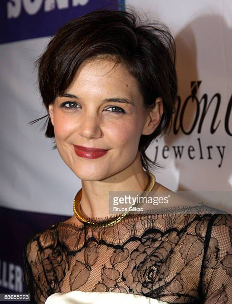 Katie Holmes poses at the after party for the opening night of the revival of Arthur Miller's 'All My Sons' on Broadway at espace on October 16 2008...