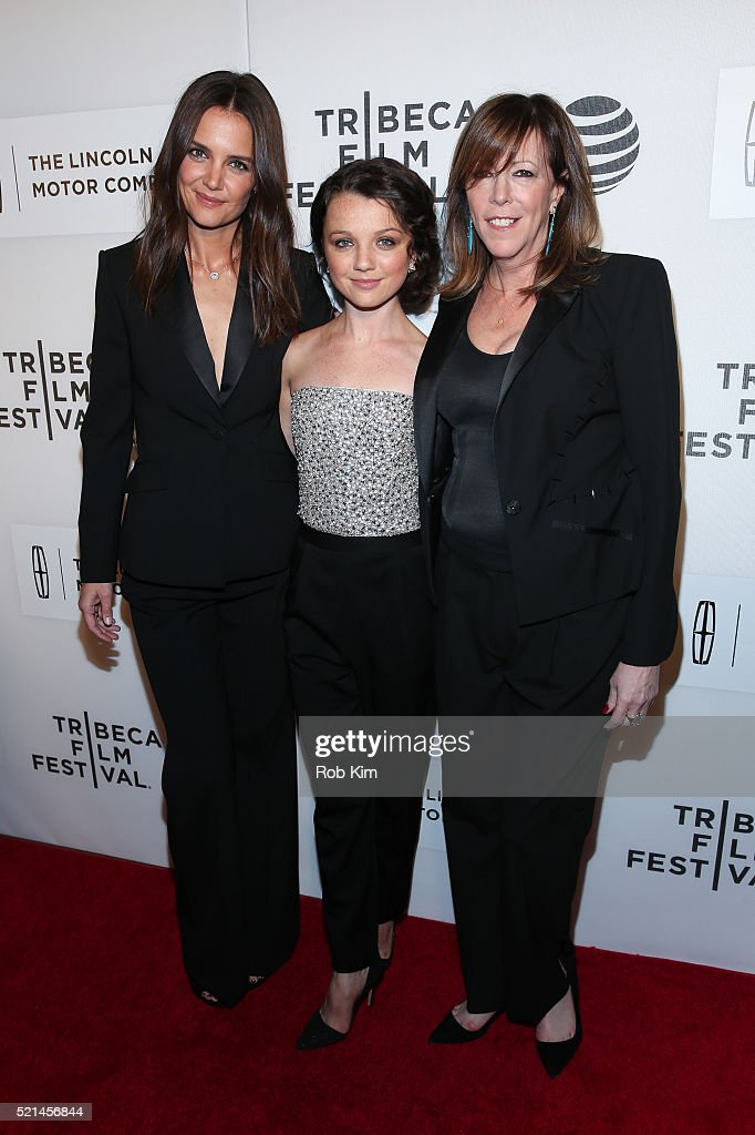 Katie Holmes Stefania Owen and Jane Rosenthal attend the premiere of 'All We Had' during the 2016 Tribeca Film Festival at John Zuccotti Theater at...