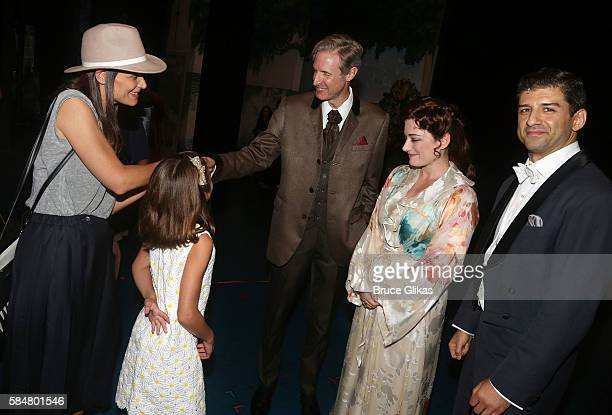 Katie Holmes Suri Cruise Paul Slade Smith as 'Charles Frohman' Laura Michelle Kelly as 'Sylvia Llewelyn Davies' and Tony Yazbeck as 'JM Barrie' chat...
