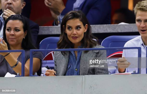 Katie Holmes watches Venus Williams v Sloane Stephens at Arthur Ashe Stadium on September 7 2017 in New York City