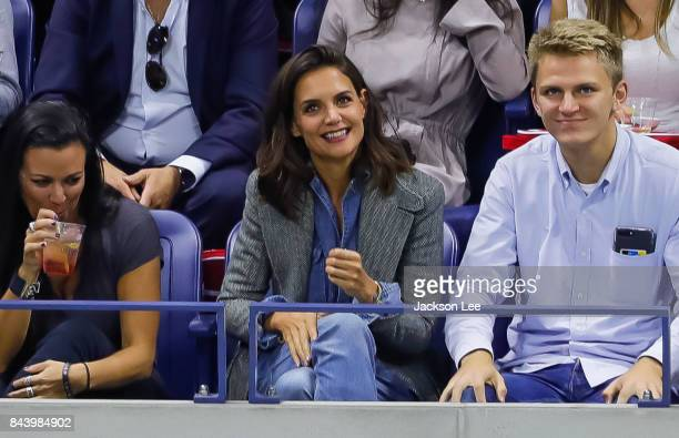 Katie Holmes watches Venus Williams v Sloane Stephens US Open Tennis Championships at Arthur Ashe Stadium on September 7 2017 in New York City