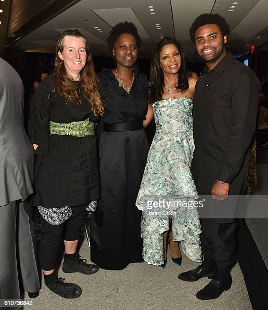 Katie Holten Andrianna Campbell Pamela Joyner and Kevin Beasley attend Abstracted Black Tie Dinner Hosted by Pamela Joyner Fred Giuffrida and the...