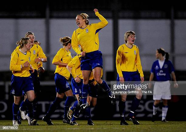 Katie Holtham of Leeds Carnegie celebrates the firs goal during the Tesco Womens Premier League Cup Final between Everton and Leeds Carnegie at...