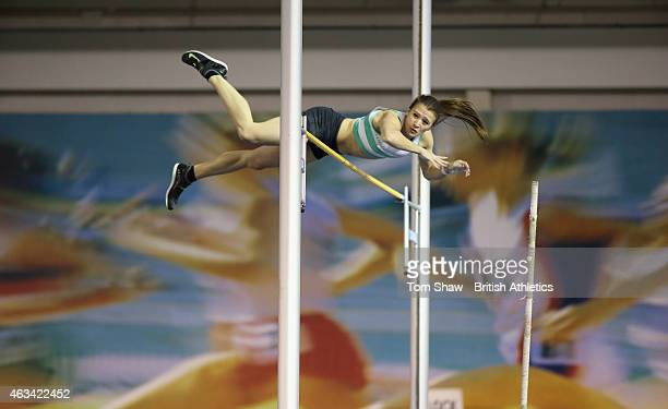 Katie James of Great Britain on her way to winning Bronze on the womens pole vault during day 1 of the Sainsbury's Indoor British Championships at...