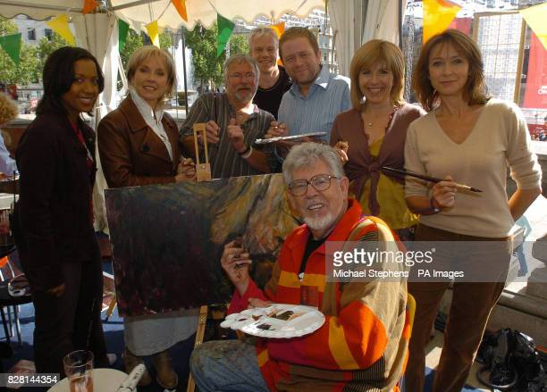 Katie Knapman Sarah Greene Bill Oddie Mark Speight Jon Culshaw Maggie Philbin Cherie Lunghi and Rolf Harris with one of the 108 canvasses which will...