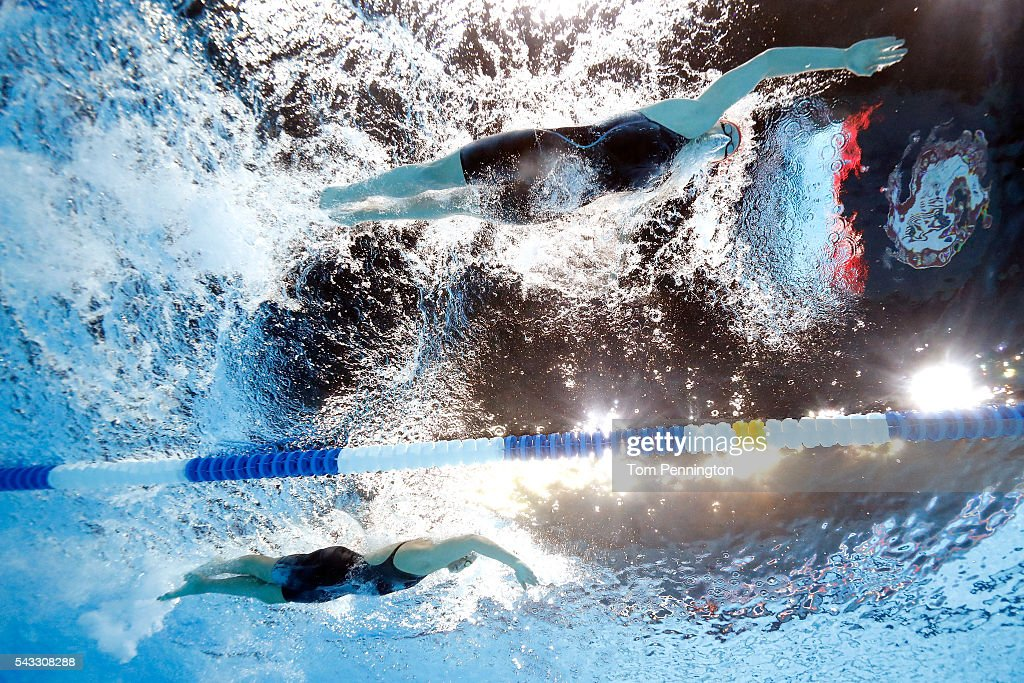 <a gi-track='captionPersonalityLinkClicked' href=/galleries/search?phrase=Katie+Ledecky&family=editorial&specificpeople=9595921 ng-click='$event.stopPropagation()'>Katie Ledecky</a> and <a gi-track='captionPersonalityLinkClicked' href=/galleries/search?phrase=Cierra+Runge&family=editorial&specificpeople=9499996 ng-click='$event.stopPropagation()'>Cierra Runge</a> of the United States compete in a heat for the Women's 400 Meter Freestyle during Day Two of the 2016 U.S. Olympic Team Swimming Trials at CenturyLink Center on June 27, 2016 in Omaha, Nebraska.