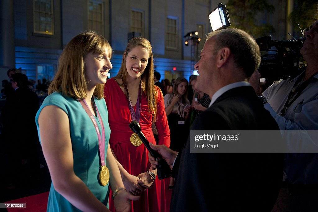 <a gi-track='captionPersonalityLinkClicked' href=/galleries/search?phrase=Katie+Ledecky&family=editorial&specificpeople=9595921 ng-click='$event.stopPropagation()'>Katie Ledecky</a> and <a gi-track='captionPersonalityLinkClicked' href=/galleries/search?phrase=Missy+Franklin&family=editorial&specificpeople=6623958 ng-click='$event.stopPropagation()'>Missy Franklin</a> attend USA TODAY unveils new look as it celebrates the next 30 years at National Portrait Gallery on September 13, 2012 in Washington, DC.