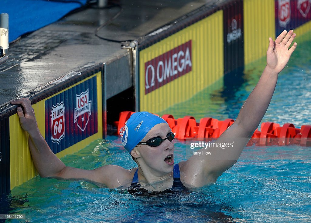 <a gi-track='captionPersonalityLinkClicked' href=/galleries/search?phrase=Katie+Ledecky&family=editorial&specificpeople=9595921 ng-click='$event.stopPropagation()'>Katie Ledecky</a> celebrates her win and world record time in the Women's 400 Meter Freestyle Final during the 2014 Phillips 66 National Championships at the Woollett Aquatic Center on August 9, 2014 in Irvine, California.