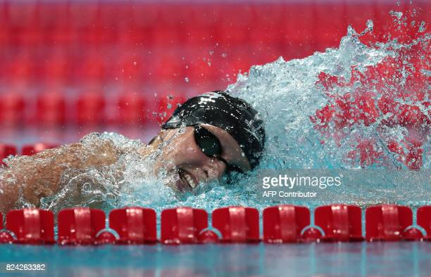 US Katie Ledecky competes in the women's 800m freestyle final during the swimming competition at the 2017 FINA World Championships in Budapest on...