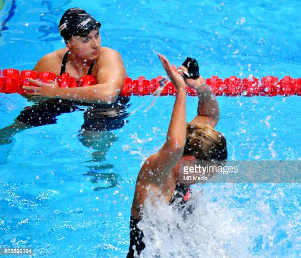 Katie Ledecky Federica Pellegrini during the Budapest 2017 FINA World Championships on July 26 2017 in Budapest Hungary