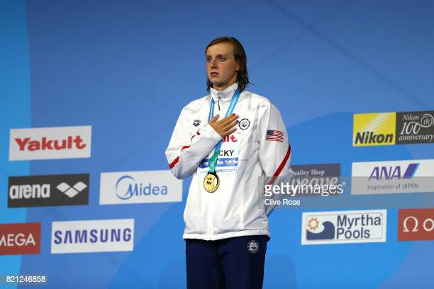 Katie Ledecky of the United States celebrates winning gold in the Women's 400m Freestyle Final on day ten of the Budapest 2017 FINA World...