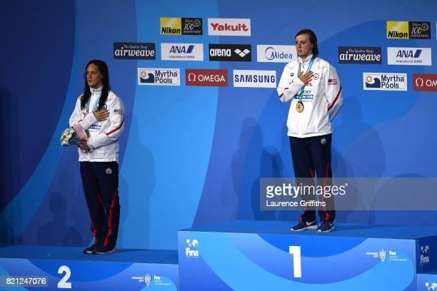 Katie Ledecky of the United States celebrates winning gold with Silver medel winner Leah Smith of the United States following the Women's 400m...