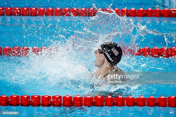 Katie Ledecky of the United States celebrates winning the gold medal in the Women's 800m Freestyle Final on day fifteen of the 16th FINA World...