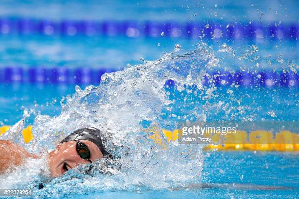 Katie Ledecky of the United States competes during the Women's 1500m Freestyle final on day twelve of the Budapest 2017 FINA World Championships on...