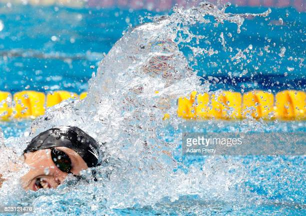 Katie Ledecky of the United States competes during the Women's 200m Freestyle final on day thirteen of the Budapest 2017 FINA World Championships on...