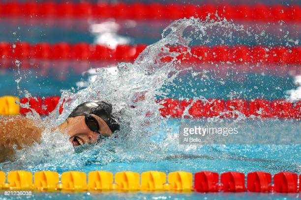 Katie Ledecky of the United States competes during the Women's 400m Freestyle Final on day ten of the Budapest 2017 FINA World Championships on July...