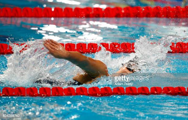 Katie Ledecky of the United States competes during the Women's 800m Freestyle final on day sixteen of the Budapest 2017 FINA World Championships on...