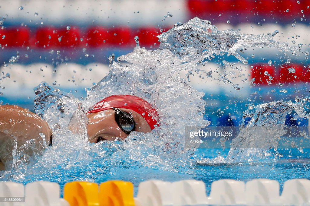 <a gi-track='captionPersonalityLinkClicked' href=/galleries/search?phrase=Katie+Ledecky&family=editorial&specificpeople=9595921 ng-click='$event.stopPropagation()'>Katie Ledecky</a> of the United States competes in a heat for the Women's 400 Meter Freestyle during Day Two of the 2016 U.S. Olympic Team Swimming Trials at CenturyLink Center on June 27, 2016 in Omaha, Nebraska.
