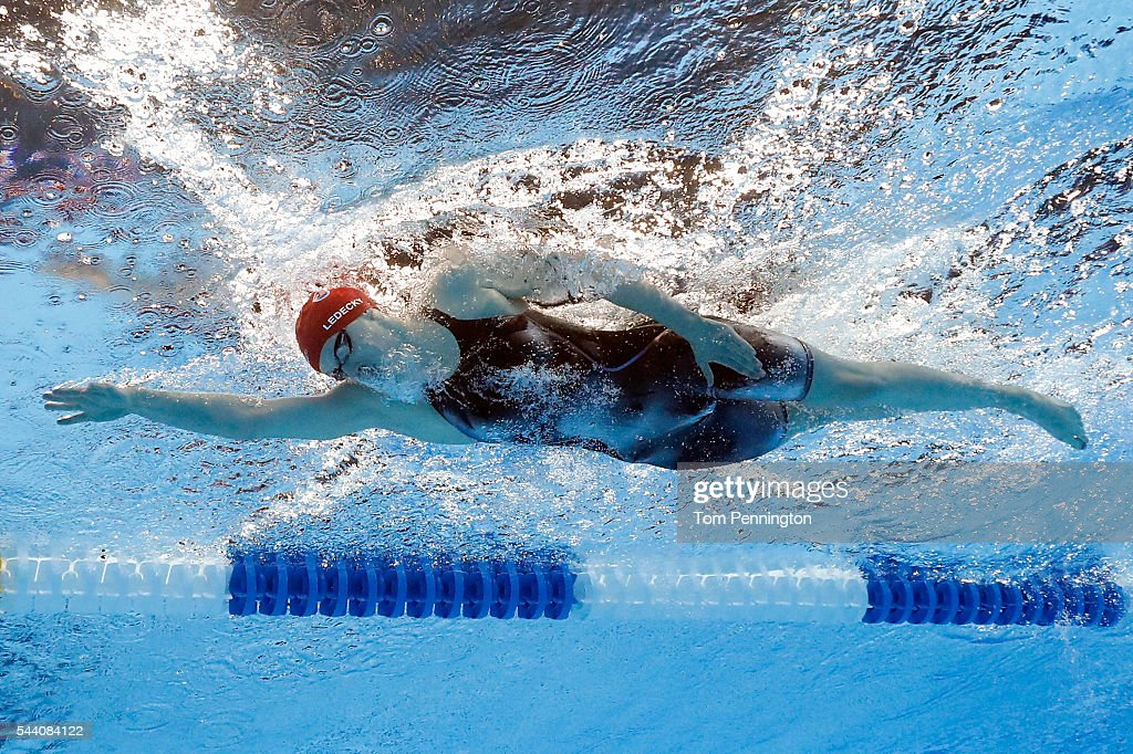 Katie Ledecky of the United States competes in a heat for the Women's 800 Meter Freestyle during Day Six of the 2016 US Olympic Team Swimming Trials...