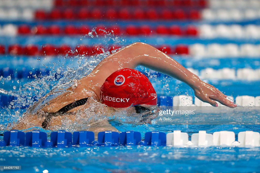Katie Ledecky of the United States competes in the final heat for the Women's 800 Meter Freestyle during Day Seven of the 2016 US Olympic Team...