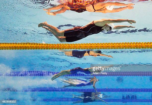 Katie Ledecky of the United States competes in the Women's 1500m Freestyle Heats on day ten of the 16th FINA World Championships at the Kazan Arena...