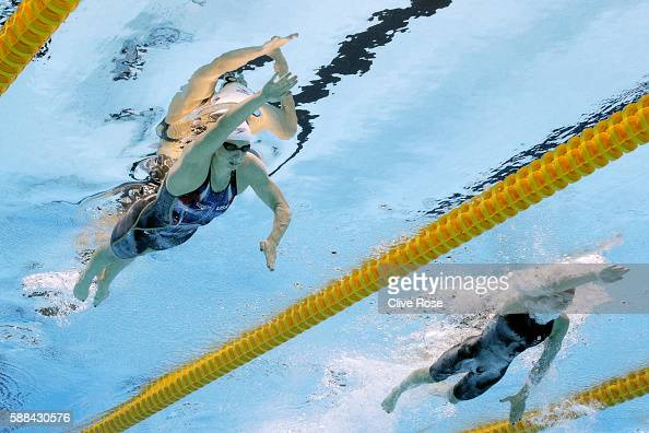 Katie Ledecky of the United States competes in the Women's 800m Freestyle heat on Day 6 of the Rio 2016 Olympic Games at the Olympic Aquatics Stadium...
