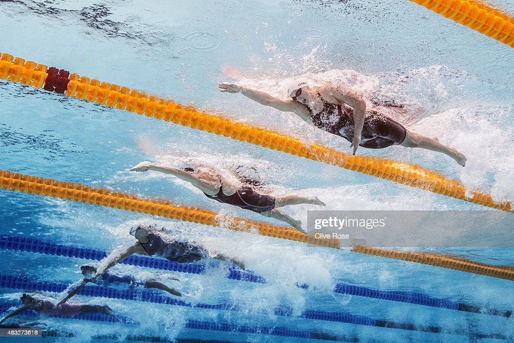 <a gi-track='captionPersonalityLinkClicked' href=/galleries/search?phrase=Katie+Ledecky&family=editorial&specificpeople=9595921 ng-click='$event.stopPropagation()'>Katie Ledecky</a> (R) of the United States competes in the Women's 800m Freestyle heats on day fourteen of the 16th FINA World Championships at the Kazan Arena on August 7, 2015 in Kazan, Russia.
