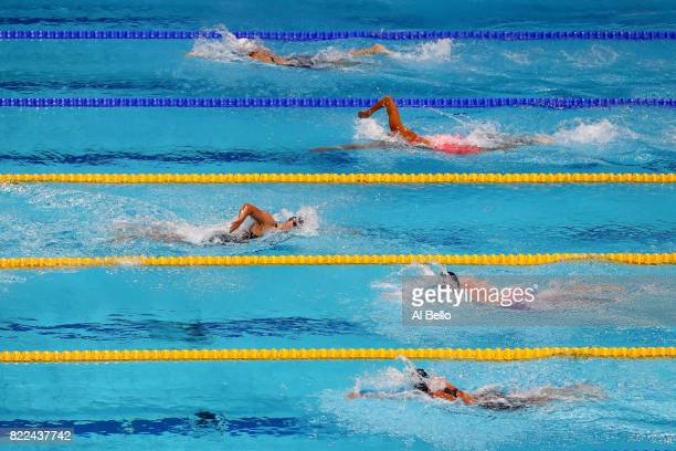 Katie Ledecky of the United States laps her fellow competitors during the Women's 1500m Freestyle final on day twelve of the Budapest 2017 FINA World...