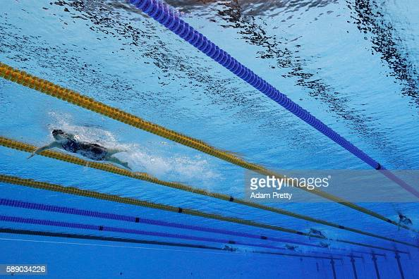 Katie Ledecky of the United States leads the field in the Women's 800m Freestyle Final on Day 7 of the Rio 2016 Olympic Games at the Olympic Aquatics...