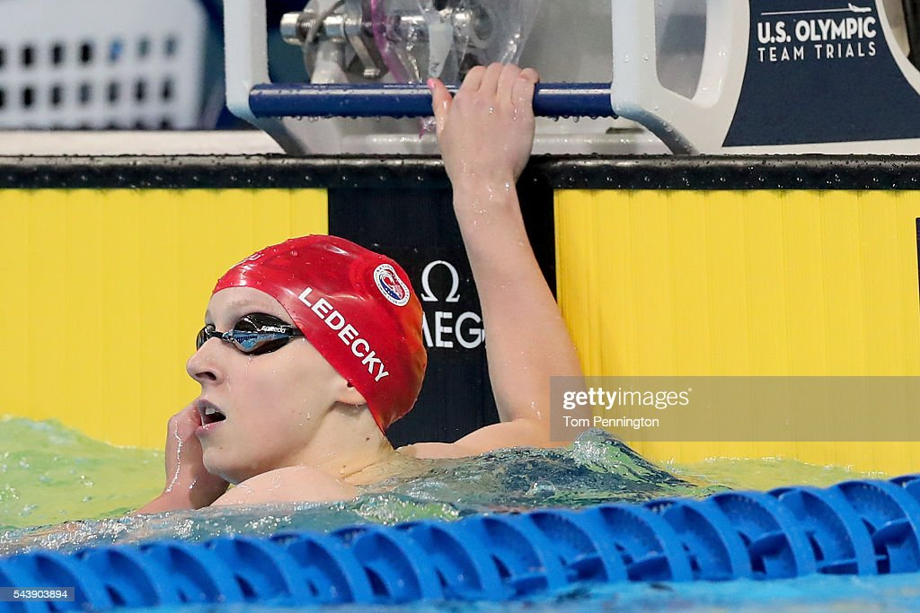<a gi-track='captionPersonalityLinkClicked' href=/galleries/search?phrase=Katie+Ledecky&family=editorial&specificpeople=9595921 ng-click='$event.stopPropagation()'>Katie Ledecky</a> of the United States looks on after competing in a heat for the Women's 100 Meter Freestyle during Day Five of the 2016 U.S. Olympic Team Swimming Trials at CenturyLink Center on June 30, 2016 in Omaha, Nebraska.
