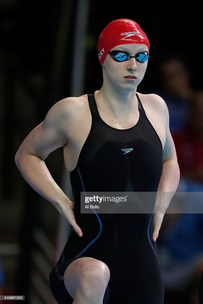<a gi-track='captionPersonalityLinkClicked' href=/galleries/search?phrase=Katie+Ledecky&family=editorial&specificpeople=9595921 ng-click='$event.stopPropagation()'>Katie Ledecky</a> of the United States prepares to compete in a heat for the Women's 100 Meter Freestyle during Day Five of the 2016 U.S. Olympic Team Swimming Trials at CenturyLink Center on June 30, 2016 in Omaha, Nebraska.