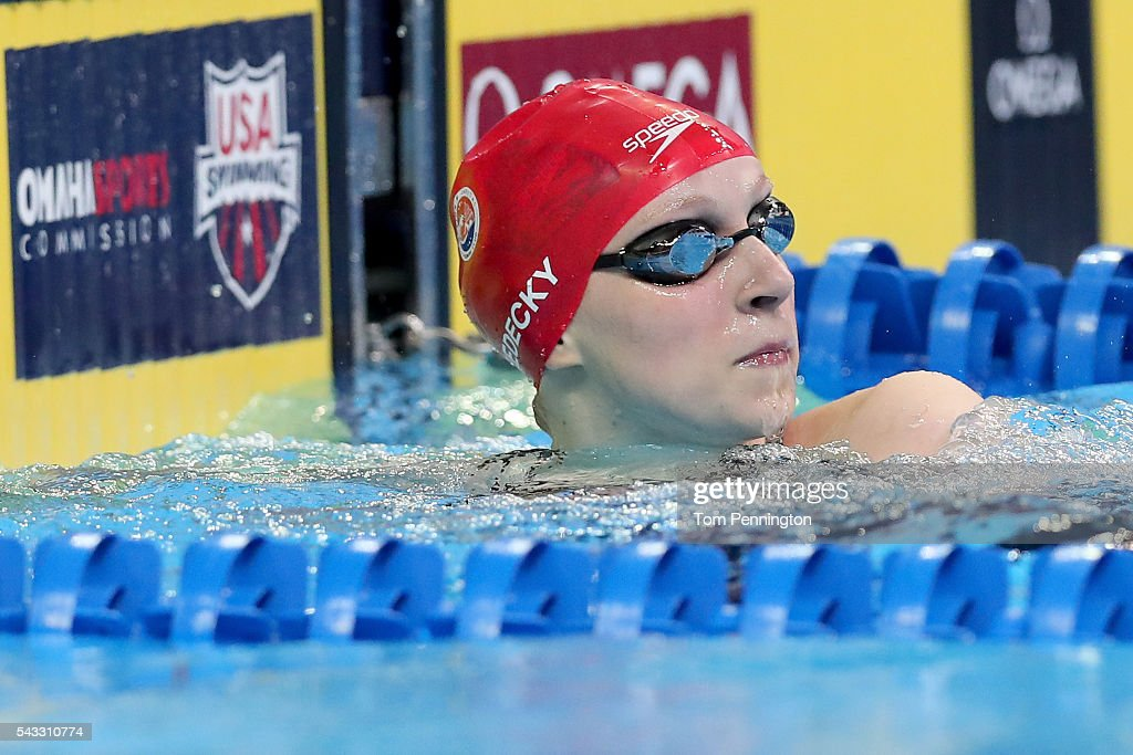 <a gi-track='captionPersonalityLinkClicked' href=/galleries/search?phrase=Katie+Ledecky&family=editorial&specificpeople=9595921 ng-click='$event.stopPropagation()'>Katie Ledecky</a> of the United States reacts after competing in a heat for the Women's 400 Meter Freestyle during Day Two of the 2016 U.S. Olympic Team Swimming Trials at CenturyLink Center on June 27, 2016 in Omaha, Nebraska.