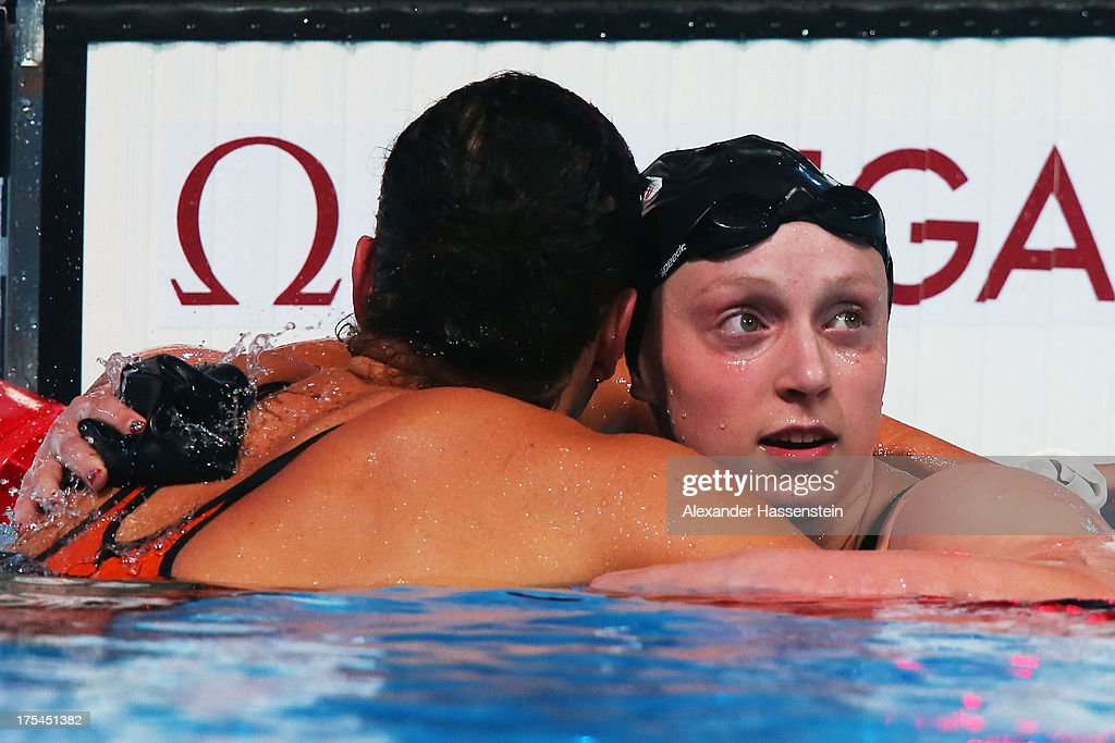 Katie Ledecky of the USA is congratulated by Lotte Friis of Denmark setting a new World Record time of 81386 in the Swimming Women's Freestyle 800m...