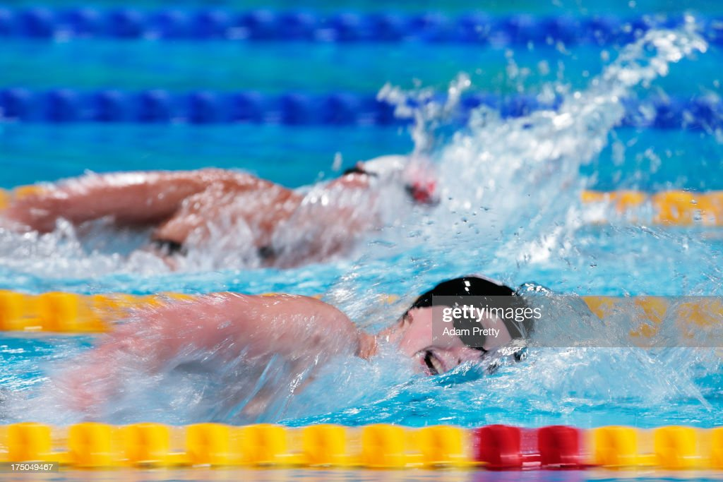 Katie Ledecky of the USA sets a new World Record time of 15:36.53 during the Swimming Women's 1500m Freestyle Final on day eleven of the 15th FINA World Championships at Palau Sant Jordi on July 30, 2013 in Barcelona, Spain.
