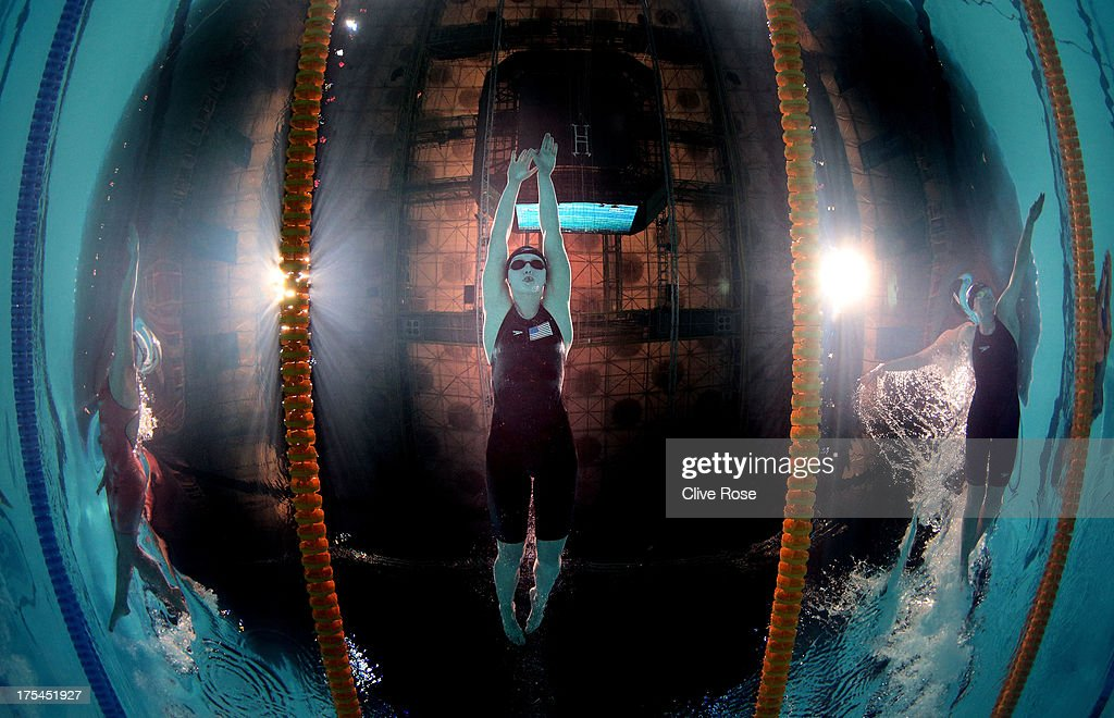 <a gi-track='captionPersonalityLinkClicked' href=/galleries/search?phrase=Katie+Ledecky&family=editorial&specificpeople=9595921 ng-click='$event.stopPropagation()'>Katie Ledecky</a> of the USA (C) sets a new World Record time of 8:13.86 alongside <a gi-track='captionPersonalityLinkClicked' href=/galleries/search?phrase=Lotte+Friis&family=editorial&specificpeople=3035975 ng-click='$event.stopPropagation()'>Lotte Friis</a> (L) of Denmark and <a gi-track='captionPersonalityLinkClicked' href=/galleries/search?phrase=Lauren+Boyle&family=editorial&specificpeople=802634 ng-click='$event.stopPropagation()'>Lauren Boyle</a> (R) of New Zealand in the Swimming Women's Freestyle 800m Final on day fifteen of the 15th FINA World Championships at Palau Sant Jordi on August 3, 2013 in Barcelona, Spain.