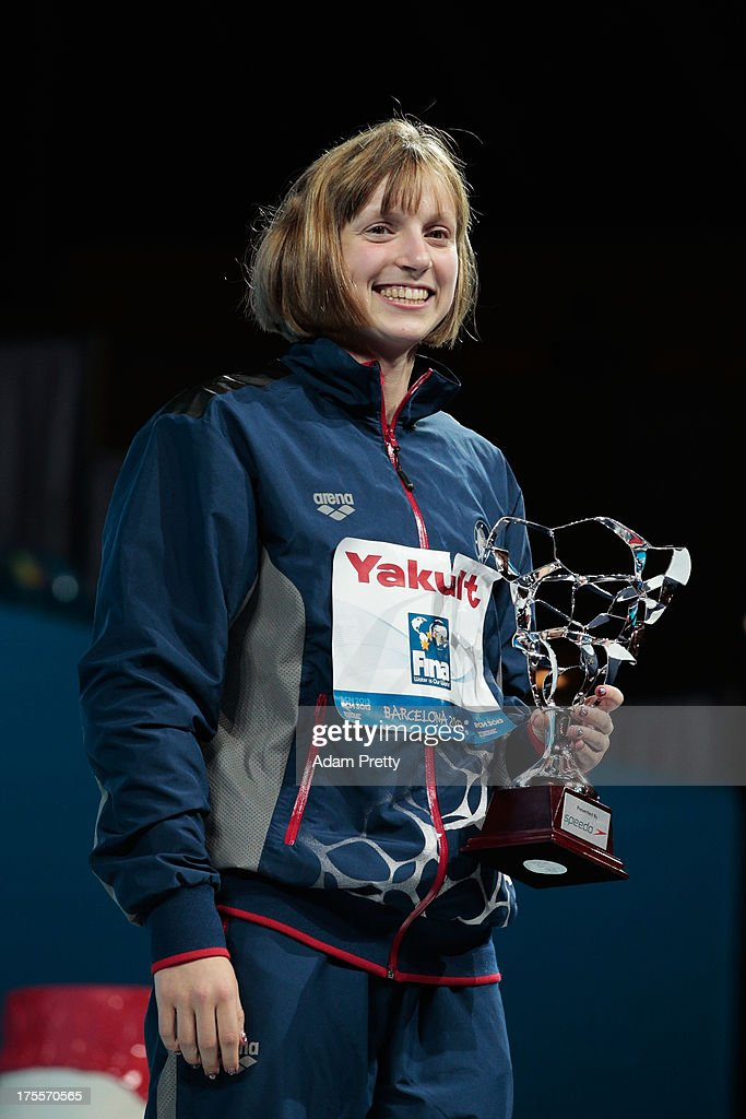 <a gi-track='captionPersonalityLinkClicked' href=/galleries/search?phrase=Katie+Ledecky&family=editorial&specificpeople=9595921 ng-click='$event.stopPropagation()'>Katie Ledecky</a> of the USA wins the award for 'Best Female Swimmer' on day sixteen of the 15th FINA World Championships at Palau Sant Jordi on August 4, 2013 in Barcelona, Spain.