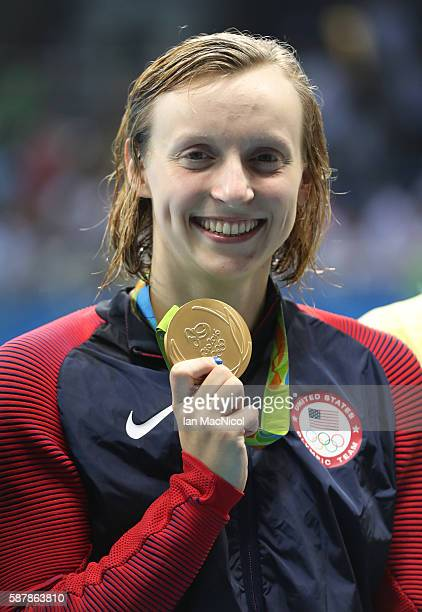 Katie Ledecky of United States poses with her Gold medal from the Women's 200m Freestyle on Day 4 of the Rio 2016 Olympic Games at the Olympic...