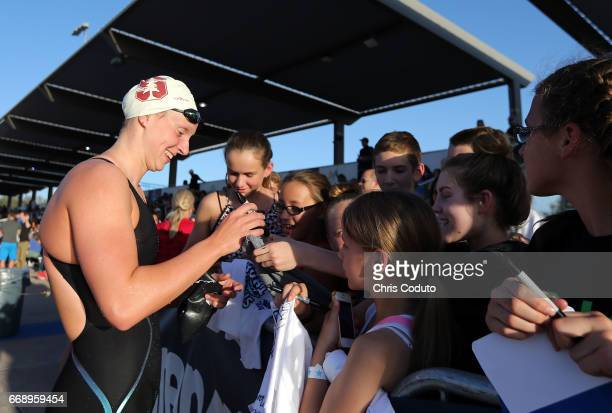 Katie Ledecky signs autographs on day three of the Arena Pro Swim Series Mesa at Skyline Aquatic Center on April 15 2017 in Mesa Arizona