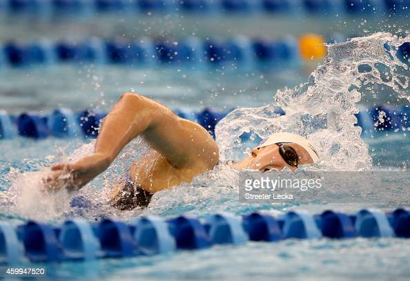 Katie Ledecky swims the women's 500 yard freestyle final during the USA Swimming 2014 ATT Winter National Championships at the Greensboro Aquatic...