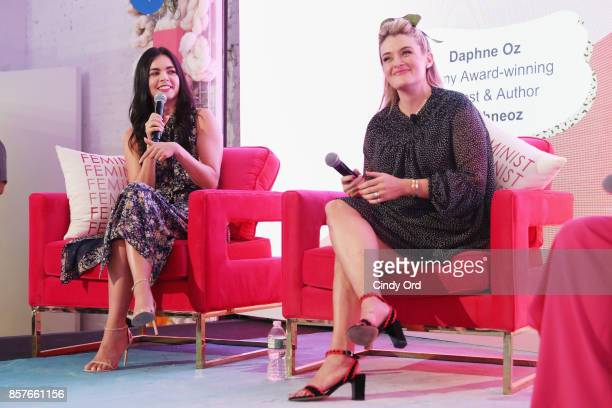 Katie Lee and Daphne Oz speak onstage as Brit Co Kicks Off Experiential PopUp #CreateGood with Allison Williams and Daphne Oz at Brit Co on October 4...